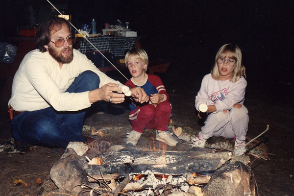 Dane spent summers camping with his family and learning to survive in the wilderness on a diet of marshmallows.